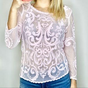 Beautiful Light Pink Sheer Embroidered Blouse